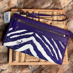 NWT Coach Zebra Purple Wallet/Wristlet